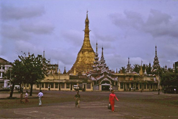 Sule Pagoda Roundabout at Rush Hour 1978