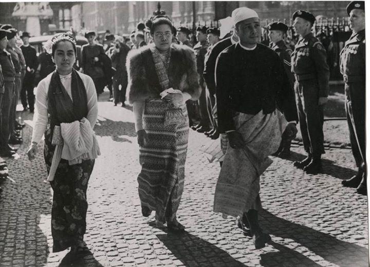 Prime Minister U Nu, Daw Mya Yee and Daw Khin Kyi in England 1950