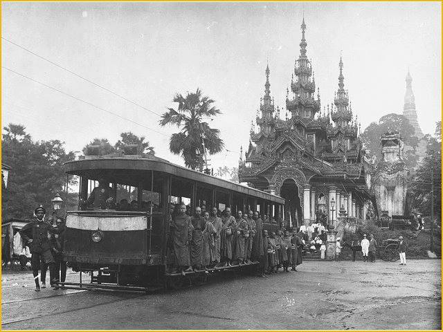 The Shwedagon-Botataung Tram c. 1905.