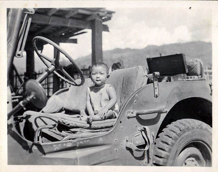 Baby in American Army Jeep in Namkham (Northern Shan States)