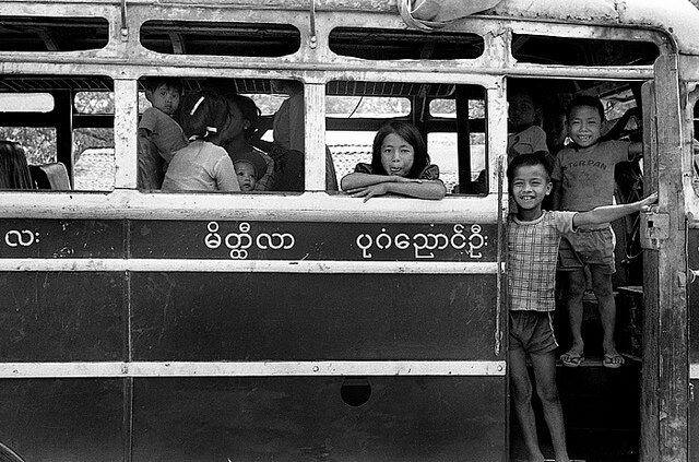 Burmese Kids on a Bus 1980
