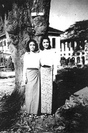 Norma Solomon and Diane Cohen in 1948. They were members of Yangon's once prominent Jewish community.